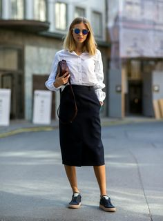sneakers with skirt and button down shirt