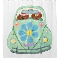 Shop Dachshund Hippies In Their Flower Love Mobile Mouse Pad created by Squirreldumplings. Funny Shower Curtains, Custom Shower Curtains, Dog Lover Gifts, Dog Gifts, Mobile Mouse, Flower Mobile, Wire Haired Dachshund, Retro Party, Dachshund Love