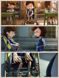 Although it is in spanish WATCH IT you will understand....This award winning animated short story spanish film is inspired by a true story..a little girl befriends a sick little boy n his wheelchair cant walk cant speak...it will pull your heartstrings