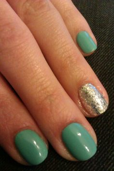 Simple mint and silver nails / Miętowe #simple #mint #silver #nalis #paznokcie #zdobienie