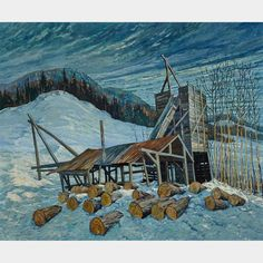 LAWRENCE NICKLE ARMSTRONG'S SAW MILL, EMSDALE, ONT. Inuit Art, Canadian Artists, Art Auction, Online Art, Art Decor, House Styles, Industrial, Paintings, Oil