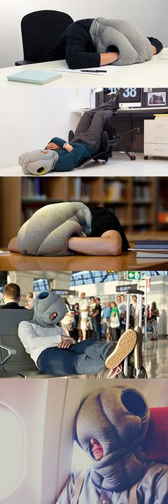 The awesome ostrich pillow is perfect for napping at your desk, on public transport, at the airport or on a plane. It turns just about anywhere into a rela