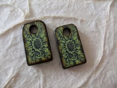 5/8 x 1 inch Lime Green Victorian Scroll Floral Dog Tag Wood Tile charm pair Custom Colors