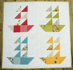 cute sailboat baby quilt by happy modern quilts