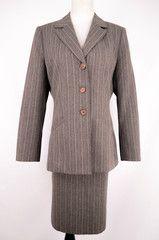 Jones New York Grey Striped Suit Jacket Size 10 & Skirt Size 14 - ClosetDash