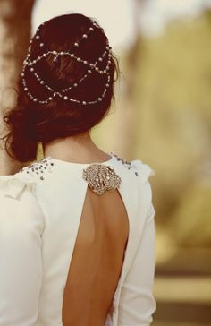 hair chain, backless and bling - possibly wedding perfection