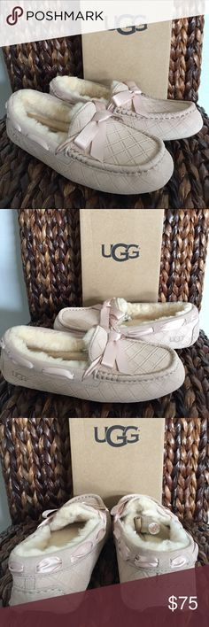 UGG® Dakota Double Diamond Pearl Genuine Suede Leather Rubber Sole Easy On/Easy Off Genuine UGGpure™ Lining Wicks Moisture Away Keeping Feet Dry Ribbon Bow UGG Shoes Moccasins