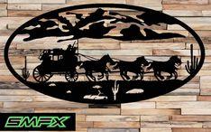 Grand art occidental du mur scène métal ovale 17 par SCHROCKMETALFX