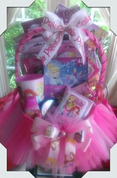 Give them something special with a personalized easter basket disney princess gift basket made by normas unique gift baskets negle Images