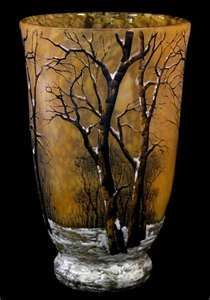 Glass vase decorated with a winter scene by Daume Nancy.