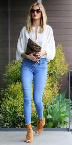 Top  Blouse  White  V neck  Plunging neckline  Cleavage  Long sleeve  Tucked in  Ring  Silver  Bag  Purse  Clutch  Brown  Snake skin  Snake print  Shoes  Heels  Open toed  Booties  Boots  Ankle  Spring  P786