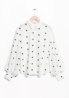 & Other Stories image 1 of Voluminous Sleeve Blouse in White With Dots