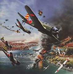 Imperial Japanese Navy attacking USN base and military infrastructure at Pearl Harbour on December Imperial Japanese Navy, Pearl Harbor Attack, Air Fighter, War Thunder, Aircraft Painting, Airplane Art, Naval History, Ww2 Planes, Ww2 Aircraft