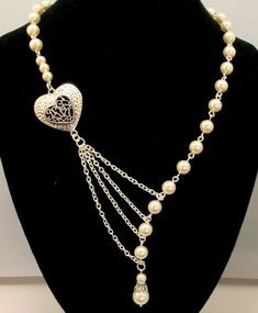 Alluring Pearls with Heart in Silver by byBrendaElaine on Etsy