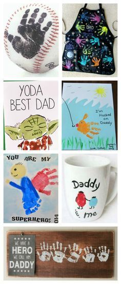 25 hand print gift ideas for Father's Day. How cute are these? My hubby would LOVE!