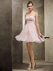 Bridesmaid Dress Short/Mini Chiffon A-line Swee... – USD $ 89.99