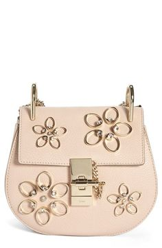 380dd73faf51 Chloé  Mini Drew - Flowers  Crystal Embellished Leather Crossbody Bag  available at  Nordstrom