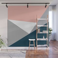 Colorful Geometry 2 Wall Mural by Anastasia - X Room Wall Painting, Room Paint, Living Room Decor, Bedroom Decor, Wall Decor, Painted Feature Wall, Geometric Wall Paint, Bedroom Wall Designs, Home Room Design