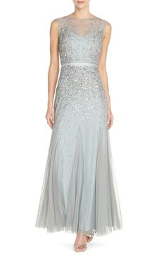 Free shipping and returns on Adrianna Papell Beaded Chiffon Gown (Regular & Petite) at Nordstrom.com. Twinkling beads and sequins cast icy tendrils over the illusion-yoke bodice of an enchanting chiffon gown before scattering down the skirt to leave the pleated hem bare and free-flowing. Satin ribbon defines the inset waist for an effortless feminine silhouette.