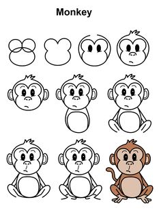 Step-by-step tutorial to draw a monkey. Easy Animal Drawings, Easy Cartoon Drawings, Pencil Art Drawings, Doodle Drawings, Easy To Draw Cartoons, Monkey Drawing Easy, Easy Drawing Steps, Step By Step Drawing, Cartoon Monkey Drawing