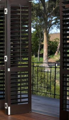 Plantation shutters for French doors Aluminium French Doors, Louvre Doors, Interior Design Degree, Interior Window Shutters, Wood Shutters, Door Coverings, Alfresco Area, British Colonial Style, Enclosed Patio