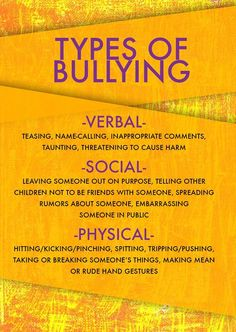 There are many different types of bullying. Some are obvious, while others are more subtle. Some of the most common types of bullying to look out for in your school and community include: verbal, social & physical. Social Emotional Learning, Social Skills, Bullying Lessons, Stop Bullying Quotes, Anti Bullying Activities, How To Stop Bullying, Stop Bullying Posters, Examples Of Bullying, Verbal Bullying
