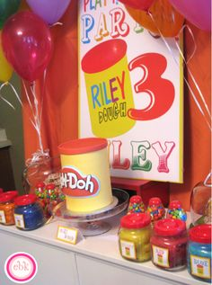 Colorful Play Doh party by @Events By Kate #parties #party #playdoh #cakes