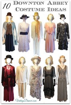 10 women's Downton Abbey costume ideas inspired by the 1920s. Day, evening and sporty fashion looks. Links to shop.