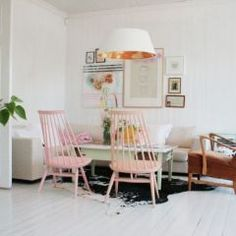 Jeanette Lund's Scandinavian designs, based on white with minimal pops of cheer.