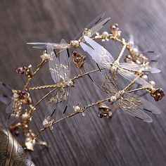 Crown three layer dragonfly bridal hair accessories the wedding crown beauty crowns tiaras bridal headband Gold Hair Accessories, Wedding Accessories, Vintage Accessories, Cute Jewelry, Hair Jewelry, Jewellery, Bridal Jewelry, Gold Jewelry, Hair Tiara