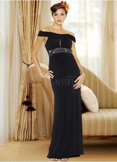 Gorgeous Black Satin Off-The-Shoulder Beadings Sheath/Column Evening Dress#dress