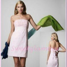 LILLY PULITZER DRESS Lilly Pulitzer seersucker dress. Strapless. Pink/white. Precious dress. Lilly Pulitzer Dresses