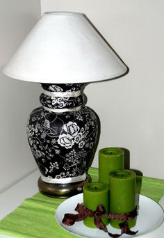 Revamp a lamp and a buffet with fabric and Mod Podge.