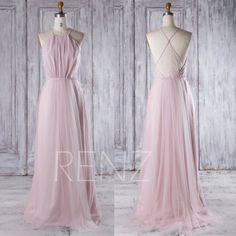 2016 Pink Mesh Bridesmaid Dress Long, Spaghetti Straps Wedding Dress, A Line Prom Dress, Open Back Evening Gown Floor Length (CS012)
