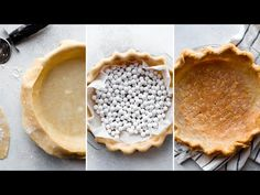 Here are instructions and a video tutorial showing you how to blind bake pie crust for lemon meringue pie, pumpkin pie, quiche, and pudding pie! Blind Bake Pie Crust, Baked Pie Crust, Pie Recipes, Cooking Recipes, Pudding Pies, Easy Chicken Dinner Recipes, Sallys Baking Addiction, No Bake Pies, Christmas Baking