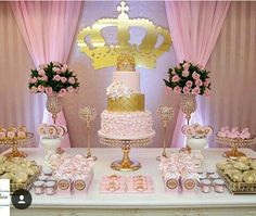 pink and gold party decoration
