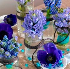 Konfirmasjon Flower Decorations, Table Decorations, Blue Garden, Spring Festival, Jar Crafts, Wedding Centerpieces, Flower Arrangements, Projects To Try, Table Settings