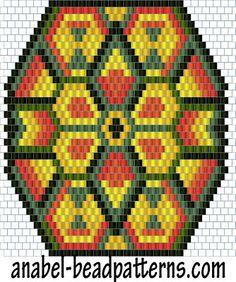 """Scheme pendant """"Indian Sun"""" - a mosaic weaving / peyote pattern"""