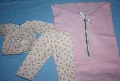 Bunting Set and Pajamas for Large Dolls 1950's
