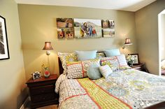 Canvas gallery wraps. Wall portrait grouping for a bedroom #photography #portrait #picture over the bed.