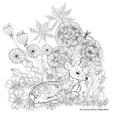Deer resting in the flowers coloring page