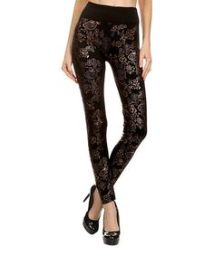This Black & Gold Metallic Paisley Leggings is perfect! #zulilyfinds