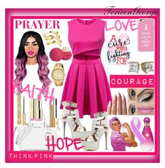 """""""ThinkPink"""" by terieengeorge ❤ liked on Polyvore featuring Michael Kors, Citizen, Yves Saint Laurent, Casetify, Eos and Smith/Grey"""