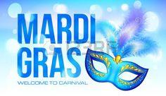 masque carnaval: Bleu Mardi Gras modèle de bannière avec masque et les plumes de carnaval Illustration