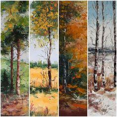 Primăvară, vară, toamnă și iarnă ... pentru acasă, birou ori cadou :) (Cea prezentată aici este o variantă dar mai avem și alte posibilități de combinare.) Mai, Painting, Painting Art, Paintings, Painted Canvas, Drawings