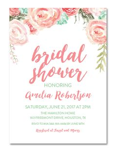 Go For Spring Inspired DIY Bridal Shower Invitations With Printables That  Boast Bold Brushstroke Typography Against Pastel Watercolor Florals.