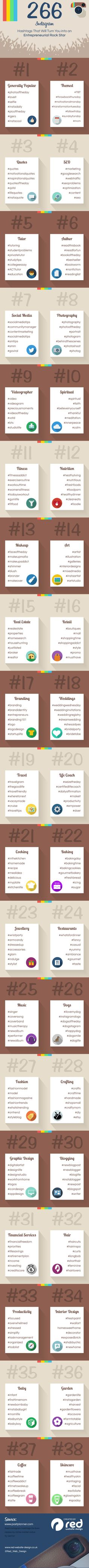 266 Instagram Hashtags For Entrepreneurial Rock Stars - If you want to become an entrepreneurial rock star on Instagram, use these 266 Instagram hashtags. They will do wonders to your influence! - #infographic
