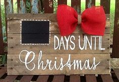 How many days till Christmas? What a lovely Christmas piece. Nothing better then such a holiday keepsake that will last your family a life time. Wooden hand painted lettering, burlap bow, black chalkboard. Three pieces of wood turned into one. Hooks are on the back to hang. Roughly 15 inches long an 10 inches tall