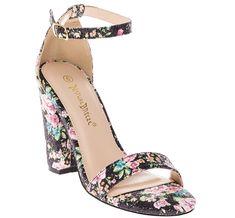 Amazon.com   CALICO KIKI Women's Casual Floral Glitter Ankle Strap Block Heel Open Toe Pumps   Heeled Sandals