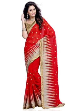 Red Georgette Saree with Silk Blouse Red georgette saree with chikoo, gold silk blouse. Embellished with embroidered and zari. Saree comes with sweet heart neck blouse. It is perfect for festival wear, party wear and wedding wear.